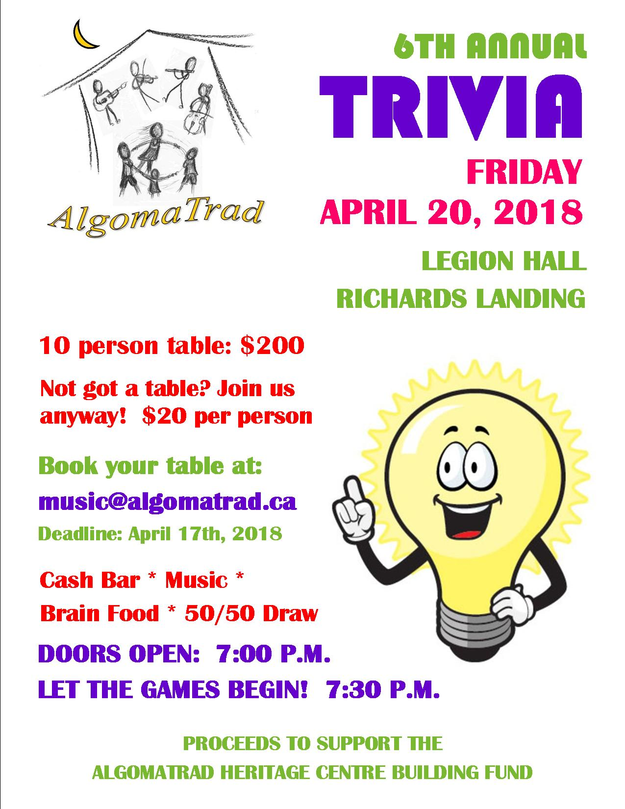 AlgomaTrad Trivia Night Fundraiser