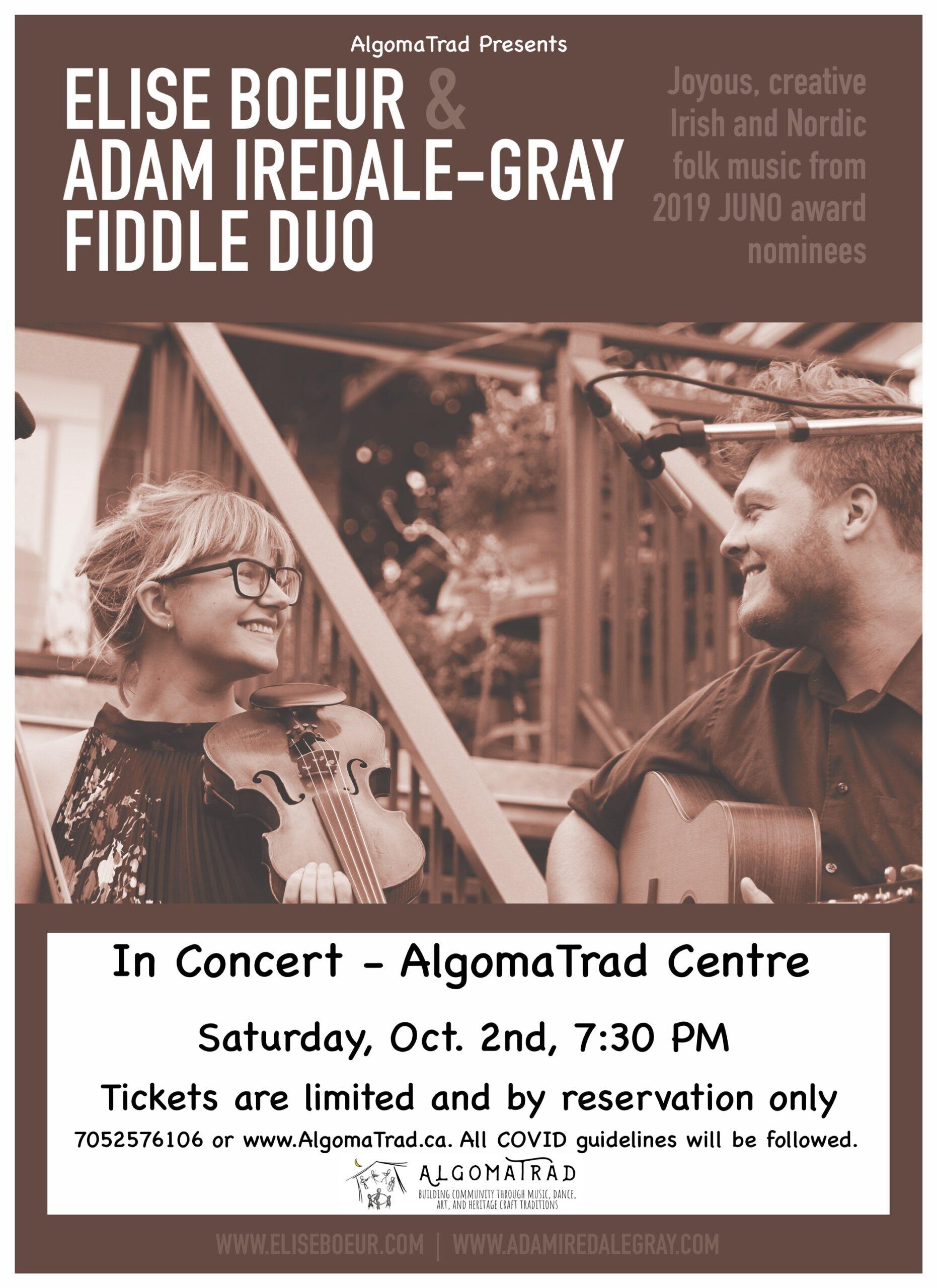 AlgomaTrad Presents Elise Bouer and Adam Iredale-Gray, Saturday, October 2